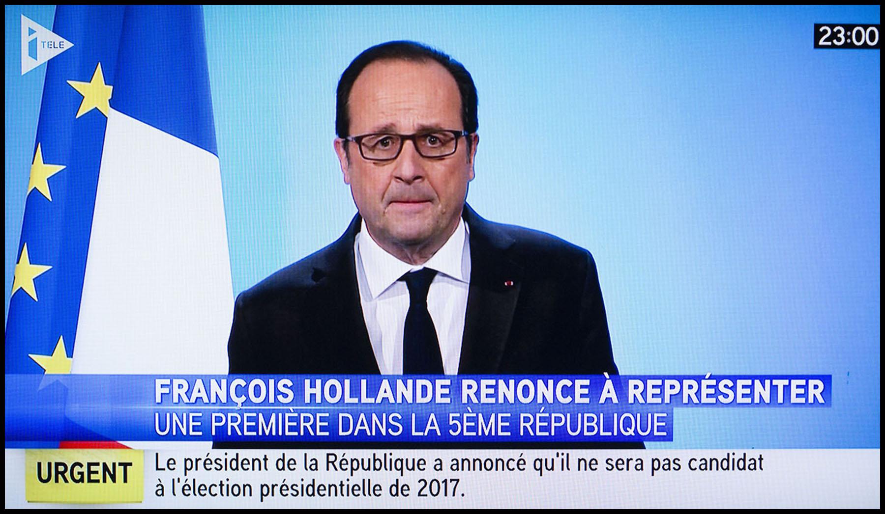 Dans une déclaration retransmise sur toutes les chaines de TV en direct du Palais de l'Elysée, le président de la république François HOLLANDE annonce qu'il ne se représentera pas pour un deuxième mandat présidentiel.