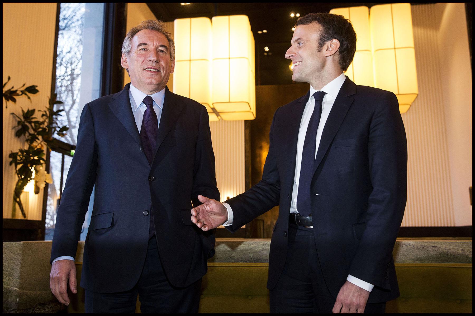 François Bayrou président du MODEM et Emmanuel MACRON leader du mouvement En Marche! tiennent une conférence de presse après un entretien pour sceller leur alliance pour les élections présidentielles de 2017.