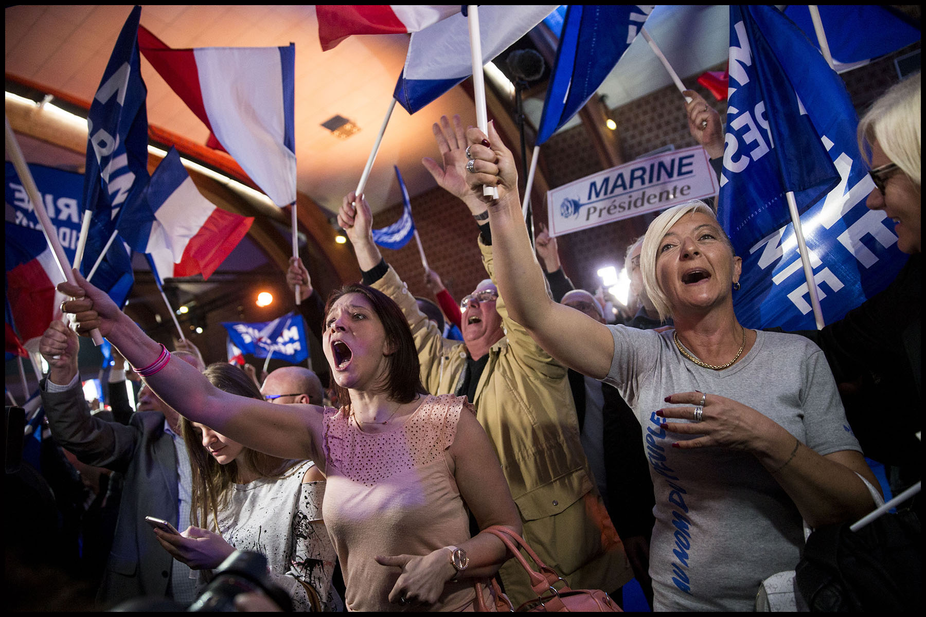 Soirée électorale de Marine LE PEN après les résultats du premier tour des élections présidentielles de 2017.
