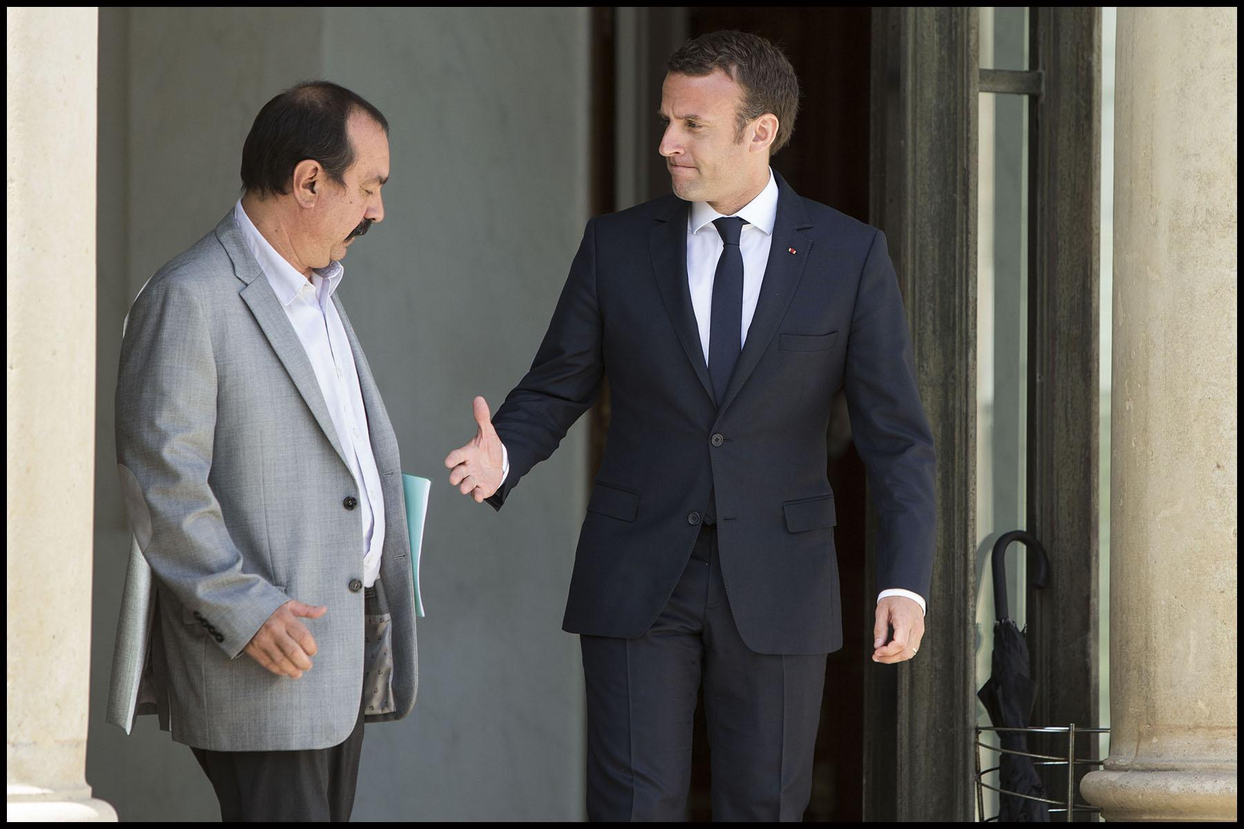 consultations à l'Elysée entre le président de la république Emmanuel MACRON et les syndicats.