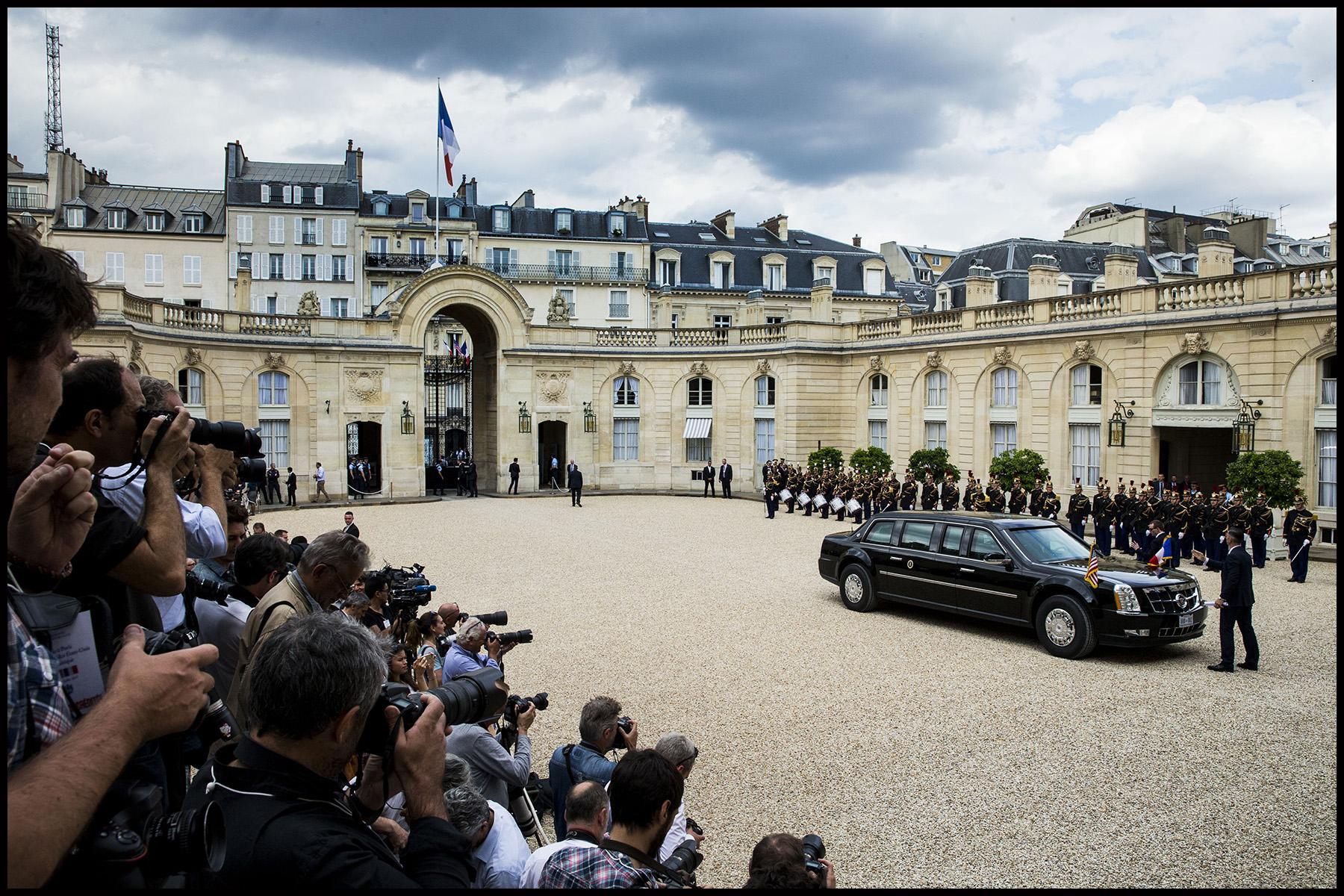 La Cadillac officielle de Donald TRUMP à l'Elysée