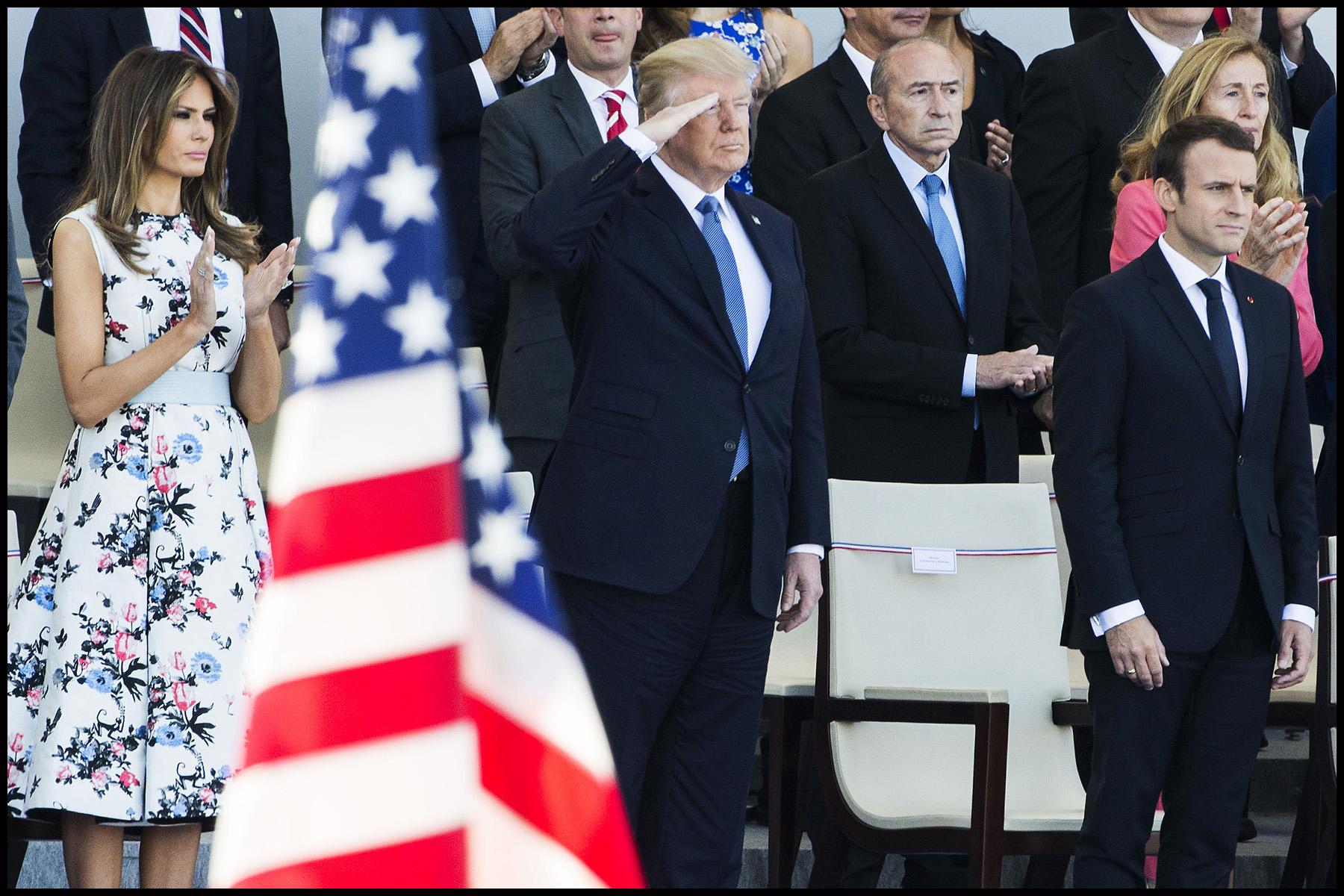 Défilé du 14 juillet sur les champs Elysées avec Emmanuel MACRON, son épouse Brigitte et Donald TRUMP et son épouse Mélania TRUMP. Défilé du 14 juillet 2017 en présence du président américain Donald TRUMP.