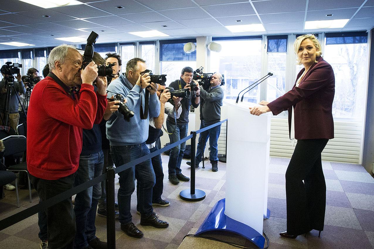 Vœux à la presse de Marine LE PEN, au siège du Rassemblement National à Nanterre.